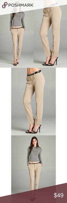 Classic Ankle Pants - Khaki Perfect addition to any work wardrobe! Has pockets and comes with the belt. 80% Polyester 15% Rayon 5% Spandex. No trades. Last pic is to show the back. Kyoot Klothing Pants Ankle & Cropped