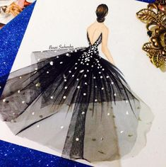 Decorate with fashion illustrations - At home - Decorate with fashion illustrations. Binari Sachendra Best P - Fashion Design Drawings, Fashion Sketches, Drawing Fashion, Fashion Illustration Dresses, Fashion Illustrations, Art Illustrations, Arte Fashion, Paper Fashion, Creation Art