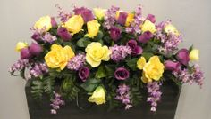 Yellow & Purple Rosebud & Lilac Deluxe Silk Flower Cemetery Headstone Saddle