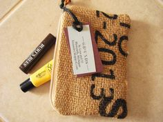 Burlap zipper pouches by lina and vi on Etsy at https://www.etsy.com/listing/185312144/grounds-collection-coffee-burlap-zipper