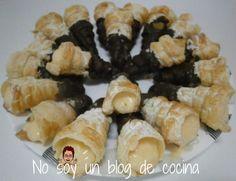 NO SOY UN BLOG DE COCINA→ Recetas paso a paso con imágenes: CARACOLAS RELLENAS DE CREMA y cubiertas de CHOCOLATE