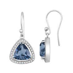 Pink Earrings, Gemstone Earrings, Sterling Silver Earrings, Dangle Earrings, London Blue Topaz, Topaz Gemstone, White Topaz, Shape, Emerald