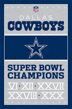 Dallas Cowboys - Super Bowl Champions Poster - 22 X 34 - Nfl 6758