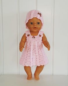 Dukkeklær til baby born - Baby products Knitting Dolls Clothes, Knitted Baby Clothes, Crochet Doll Clothes, Doll Clothes Patterns, Baby Born Clothes, Girl Doll Clothes, Baby Born Kleidung, Crochet Baby Cocoon, Crochet Doll Dress