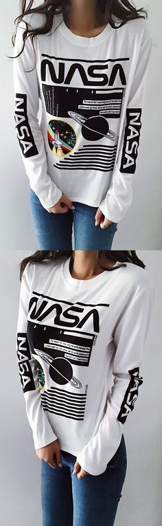 $24.99! Chicnico Fashion Letter NASA Print Long Sleeve Tee Top. Get ready for Fall fashion! Find fashionable outfits for the new