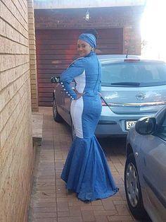 Lerato wearing blue shweshwe mermaid dress by Initial Shweshwe Dresses, Fashion Lookbook, African Fashion, Mermaid, Formal, Stylish, Fashion Styles, How To Wear, Blue