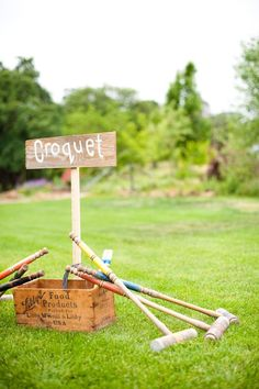 Lawn games for before the ceremony and cute signs to let people know Croquet and Bocce Ball are basically besties as far as I'm concerned.