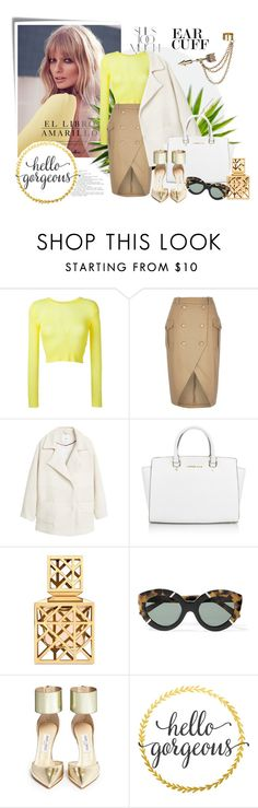 """Hello Gorgeous!"" by molnijax ❤ liked on Polyvore featuring Post-It, Rika, Alice + Olivia, MANGO, Michael Kors, Tory Burch, Karen Walker, Jimmy Choo and Emi Jewellery"