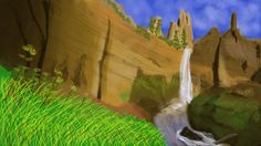 04/16/2015 Tower Falls, Yellowstone Speed Painting ~2 hours