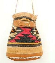 Vintage Wool And Leather Handbag Pendleton Bag Hippies Tote Handbags