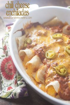 easy weeknight dinner! chili cheese enchiladas recipe. These were so freakin' good I made them twice last week. Followed recipe exactly. They taste very Tex-Mex, which is what I love!!!