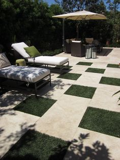 Landscape design. Faux lawn squares. Would sure love to NOT have to mow!