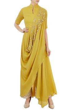 Drape sarees - Shop Shruti Ranka Lemon yellow draped anarkali with chevron pants Latest Collection Available at Aza Fashions Indian Gowns, Indian Attire, Indian Outfits, Drape Gowns, Draped Dress, Drape Sarees, Kurta Designs Women, Blouse Designs, Dress Designs