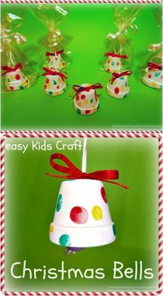 20 DIY Clay Pot Christmas Decorations That Add Charm To Your Holiday Décor Adorable DIY Christmas Bells around the world crafts for kids Christmas Crafts For Kids To Make, Easy Crafts For Kids, Xmas Crafts, Simple Christmas, Christmas Bells, Christmas Clay, Christmas Ideas, Christmas Decorations Diy For Kids, Handmade Christmas