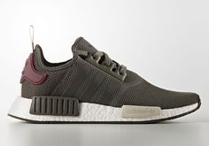 The adidas NMD. Here we get another olive green colorway on the model featuring a maroon heel. Style Code: BA7752