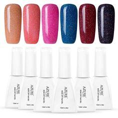 Azure Beauty Red Gel Nail Polish, Soak Off Gel Fingernail Polish Set 12ML 6 PCS