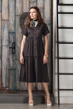 Puffball Dresses – Casual black cotton dress tea length – a unique product by Evgeniya-Pyshnicov28 on DaWanda