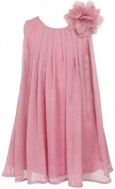 b985143ce6 BluNight Collection Little Girls Chiffon Ruched Neckline Sleeveless Summer Flower  Girl Dress Rose 2