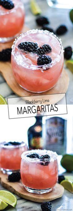 Blackberry Lime Margaritas | www.cookingandbee...