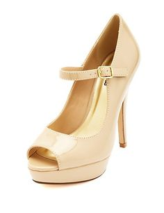 Nude peep Toe Platform Mary Jane Pumps