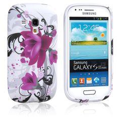 Purple Flower Flexible TPU Silicone Skin Case Cover for Samsung Galaxy S3 III Mini i8190