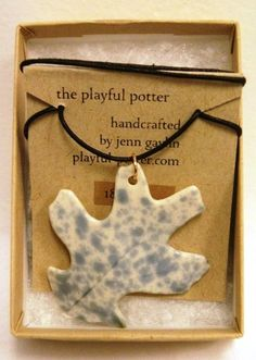 """#Lobed #Leaf #Necklace (blue/white #shumark #oak 18"""") #MadeinUSA #local #locavore #gifts #jewelry #seattle"""