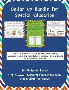 Next Dollar Up Bundle for Special Education.  This is a bundle of 3 existing products in my store offered at a reduced price. It is a zip file so you may need an unzipping program. This bundle includes  Next Dollar Up Task Cards: Money Skills [Special Education] How Many Dollars? Task Cards: Money [Next Dollar] Skills [Special Education] Next Dollar Up Worksheets