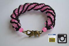 pink and black on the round bracelet. www.facebook.com/... #fashion #bracelet #jewellery #buy #handmade #round #3dbeading