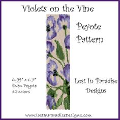 Peyote Bracelet Pattern Violets on the Vine (Buy 2 get 1 Free) | LostInParadise - Patterns on ArtFire