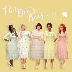 The Dee's Bees Sorry not sorry, Dee's name is wonderful to make puns with~~ SO. I recolored another lovely dress by @deetron-sims, this time a mesh she actually made for me as my secret santa! It comes in 24 swatches, with various bee and floral...