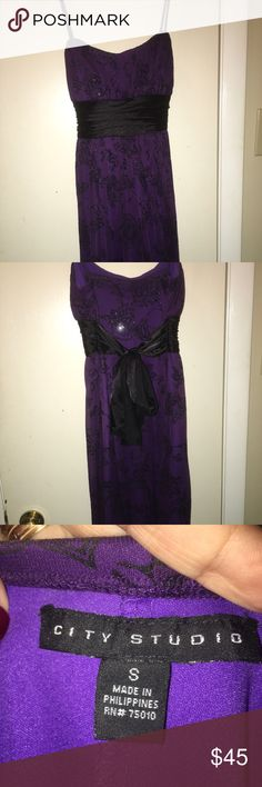 Deep purple & black dress Spaghetti straps, deep purple under sheer purple with black glittery velvet designs. Waste band is black satin that ties in the back. There are soft foam cups to keep the shape of the breast. 14 in. Armpit to armpit. And length is 27 in. Only worn once. Like new. City Studio Dresses Mini