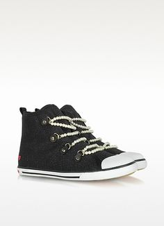 Moschino Love Moschino - Black Canvas Sneaker with Pearl Detail