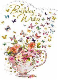 – Birthday Floral & Butterflies – Card x - Geburtstag Happy Birthday Emoji, Happy Birthday Greetings Friends, Happy Birthday Wishes Photos, Birthday Wishes Flowers, Happy Birthday Celebration, Happy Birthday Flower, Birthday Wishes Messages, Happy Birthday Friend, Birthday Blessings