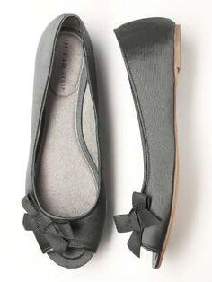 Peep Toe Satin Bridesmaids Ballet Flats