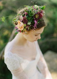 Dramatic Flower Crown | Heather Hawkins Photography | http://heyweddinglady.com/rich-moody-spring-florals-vintage-bride/