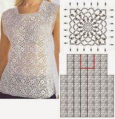 Cantinho da Jana: Gráfico de blusa de crochê ❤️LCT-MRS❤️ with diagrams
