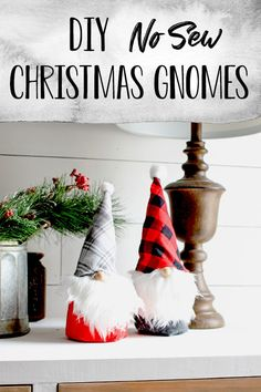 DIY Christmas Gnomes - These no sew Christmas Gnomes can be made in an afternoon and even with help from the kids! A fun Chirstmas craft to keep everyone entertained or make them and give them as gifts! Customize them to match any color scheme and Christmas decor! Post also has other holiday gnome instructions as well! #holidaygnomes #gnomecrafts #christmasgnomes #diychirstmascrafts