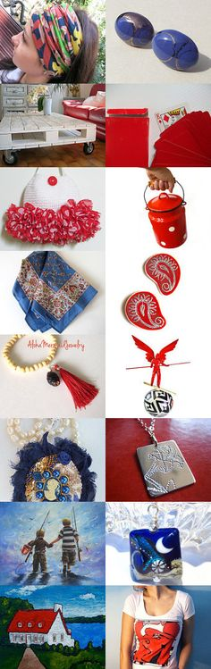 Blue and Red by Laura P. on Etsy--Pinned with TreasuryPin.com