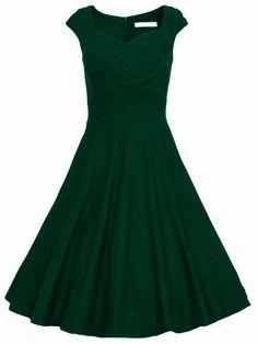 Dark Green Raw Waterfall Underskirt Heart Shape Collar Sleeveless Flare Dress // In Baylor green!