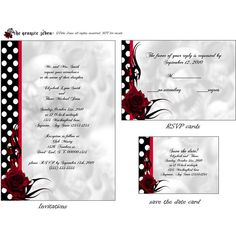 Rockabilly Roses Goth Wedding invitation set printable ($38) ❤ liked on Polyvore…