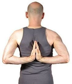 Pashchima Namaskarasana (Reverse Prayer) - This is great pose for opening up the chest, especially for all you out there that work full-time in front of a computer! Take a break, un-hunch that back and spread that chest open! Pranayama, Chest Opening, Muscle Tissue, Iyengar Yoga, Stretching Exercises, Asana, Yoga Poses, Tank Man, Prayers