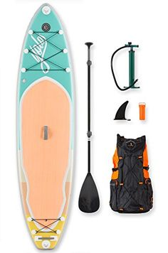 YOLO Board Inflatable Stand Up Paddle Board Adventure Kit  Mint 11  3pc Adjustable Paddle and SUP Accessories Backpack *** Find similar products by clicking the VISIT button