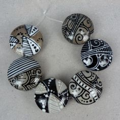 RESERVED - Black & White - Bead set by Glasting, Claudia Trimbur-Pagel