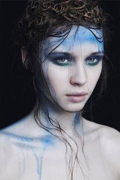 blue eyeshadow | Tumblr Art Design, Beauty, Portraits, War Paint, Make Up Art, Body Painting, Costumes, Halloween Makeup, Costume Makeup