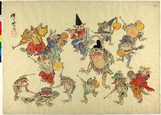 Sketch. Animals with musical instruments, dancing round Shintoist frog. Ink and colours on paper.