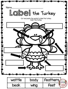 Labeling Worksheets for Kindergarten November Math and Literacy Pack Freebies Turkey Kindergarten, Kindergarten Writing, Kindergarten Activities, Classroom Activities, Reading Activities, Guided Reading, Preschool Bulletin, Reading Lessons, Math Lessons
