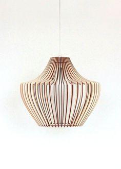 Lampen & Kerzen - 30cm Holz Lampe, Pendelleuchte , Holz Hängelampe - ein Designerstück von KWUD bei DaWanda