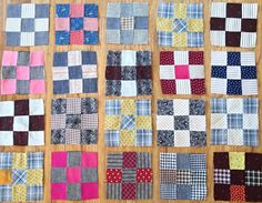 20 ANTIQUE Nine Patch QUILT BLOCKS Great Fabrics