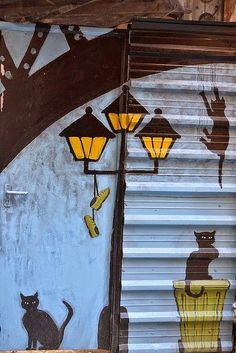 Street art cats.