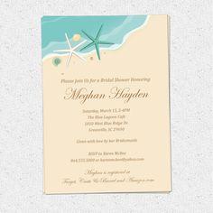 Beach Invitation Printable, Bridal Shower, Birthday, Sand Sea Surf, Starfish, Shells, Seashells, Elegant, DIY Digital File by OhCreativeOne LLC